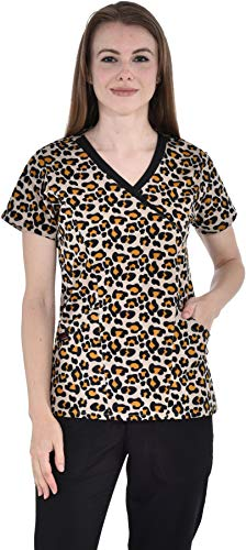Marilyn Monroe Nurses Printed Stretch Short Mock Wrap Top (Koi Animal Print)