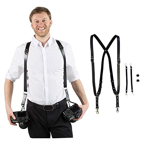 Homelex Adjustable Dual Shoulder Multi Camera PU Leather Harness Strap Sling Accessories