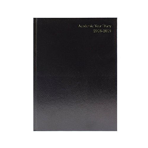 Business 2018 2019 A4 Day To Page Academic Diary, HardBack Case Bound Mid Year Diary - Black Q-Connect