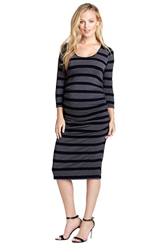 Nom Maternity Clothes - NOM Ellie Form Fitting Side Ruched Maternity Dress - Black/Charcoal - X-Small