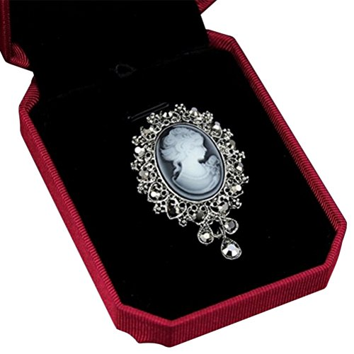 (AOWA Vintage Cameo VICTORIAN STYLE Crystal Wedding Party Women Pendant Brooch Pin Jewelry Accessories,NOT INCLUDE BOX)