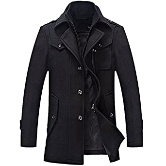 Yougao Men's Winter Thicken Warm Stand Collar Wool Coat at