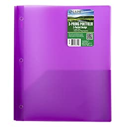 C-Line Biodegradable Two-Pocket Polypropylene Portfolio with Prongs, 1 File Folder, Color May Vary (33810)