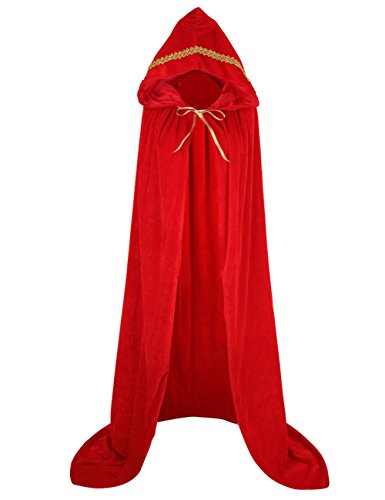 GRACIN Adult Costume Hooded Cloak-59, Unisex Full Length Velvet Cape with Hood for Halloween Cosplay Party(Red, Gold Lace)]()
