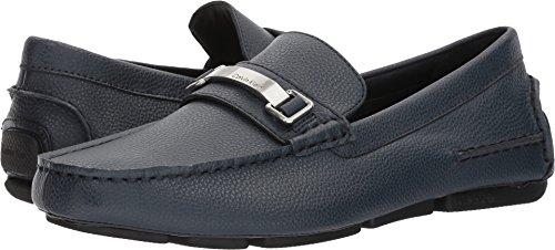 Calvin Klein Men's MIKOS Tumbled Leather Loafer, Navy, 7 Medium US (Navy Tumbled Leather)