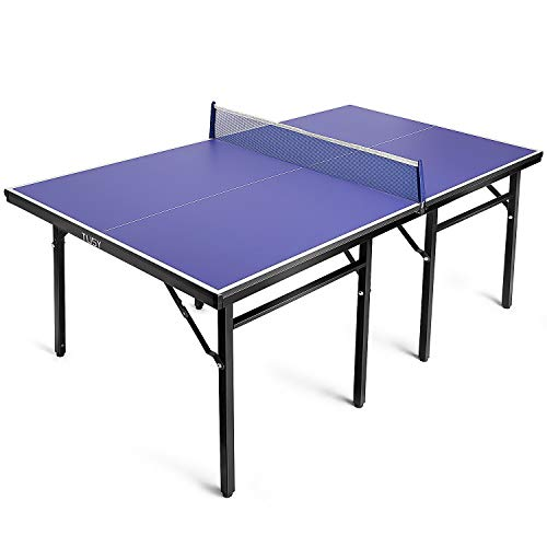 TUSY- Table Tennis Table 15mm 98% Preassembled Set Quick 8-min Multi-Use midsize Compact Outdoor/Indoor Easy Storage at Home or Office
