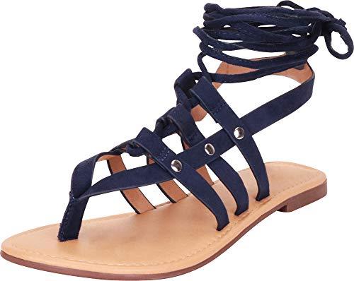 Cambridge Select Women's Thong Toe Strappy Crisscross Ankle Tie Flat Gladiator Sandal,10 B(M) US,Navy IMSU ()