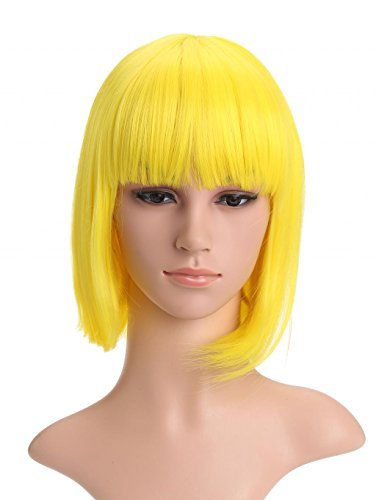 LOUISE MAELYS Ladies Candy Color Straight Flat Bang Short Bob Hair Cosplay Wigs