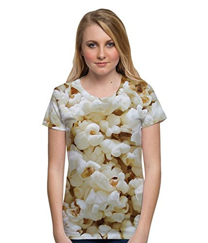 Popcorn Design All Over Sublimation Print Fun Cinema Treat Unisex Womens T Shirt - L (Popcorn Print)