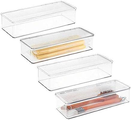 mDesign Juego de 4 fiambreras con Tapa para el frigorífico - Cajas ...