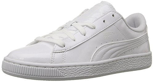 Sport White Patent Leather (PUMA Kids' Basket Classic Patent Jr Sneaker, White White, 6.5 M US Big Kid)