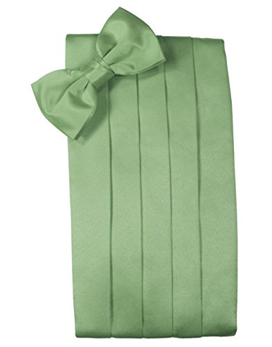 Cardi Men's Solid Satin Bowtie and Cummerbund Set (Sage) - Cardi Solid Satin