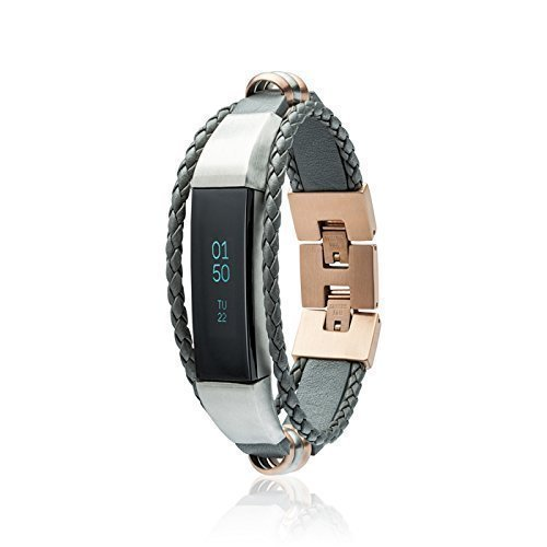 60d5afc75d58 Fitbit Alta - Alta HR - Band - Grey Rose Gold - Silver metal finish - Aurel  - Jewelry for Fitbit Alta - Fitbit Alta Accessories - Fitbit Alta Leather  Band ...