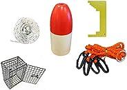 KUFA Crabbing Accessory kit (100' Non-Lead Sinking line,Clipper,Harness,Bait cage & Floa