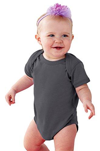 Rabbit Skins Infants'Fine Jersey Lap Shoulder Bodysuit, NB, CHARCOAL