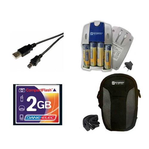 Canon Powershot A80 Digital Camera Accessory Kit Includes: USB5PIN USB Cable, T44654 Memory Card, SB257 Charger, SDC-22 Case