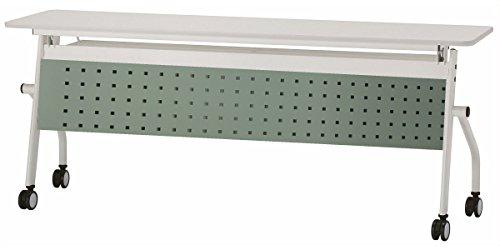 会議テーブル 跳ね上げ式 W1800×D450×H720 天板ホワイト色 幕板付き スタックテーブル GD-575M (グリーン) B0111OW0P6 グリーン グリーン