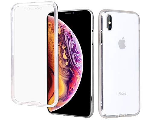 Casetego Compatible iPhone Xs Max Case,360 Full Body Two Piece Slim Crystal Transparent Case with Built-in Screen Protector for Apple iPhone Xs Max 6.5,Clear