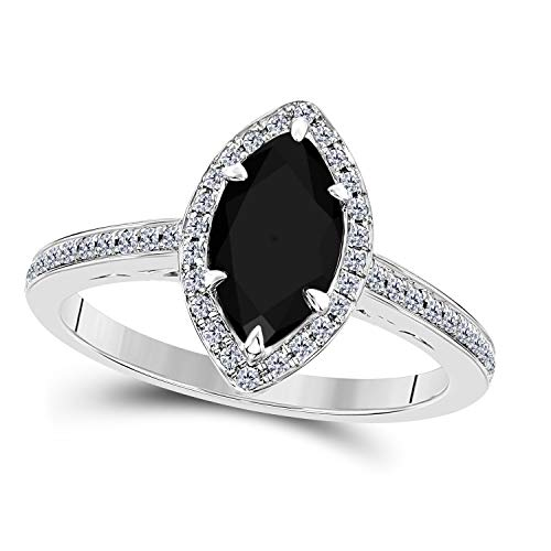 DreamJewels 1.20 Ct Created Black Sapphire Marquise Shape & CZ Simulated Diamond 14K White Gold Finish Halo Style Engagement Ring for Women's Girlfriend & Birthday Gift ()