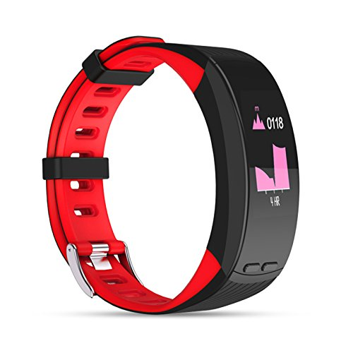 Fitnesリストバンド、Hangang Wristbands Smart Watch Fitness TrackerハートレートモニターGPS Activity Tracker Real Time, 200 mAhバッテリー7 – 10日スタンバイ時間、Android IOS互換 B07FTWKTLX レッド