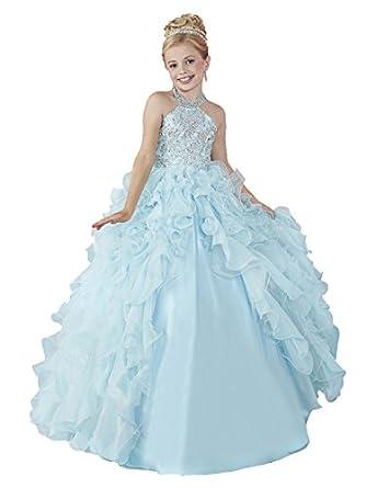 Amazon.com: HuaMei Girls\' Chiffon Halter Birthday Party Ball Gowns ...