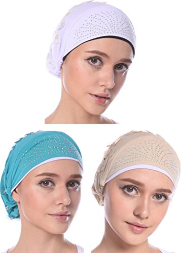 YI HENG MEI Women's Elegant Strench 3D Flower Drills Muslim Turban Cap Chemo Cancer Cap in 8 ()
