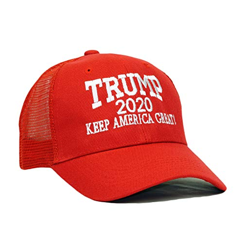 (Bingoo Trump 2020 Keep America Great Embroidery Campaign Hat USA Baseball Cap (Mesh- Red))