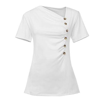69629b60cd Amazon.com - Women Skew V Neck Front Wrap Button Pleated Slim Top ...