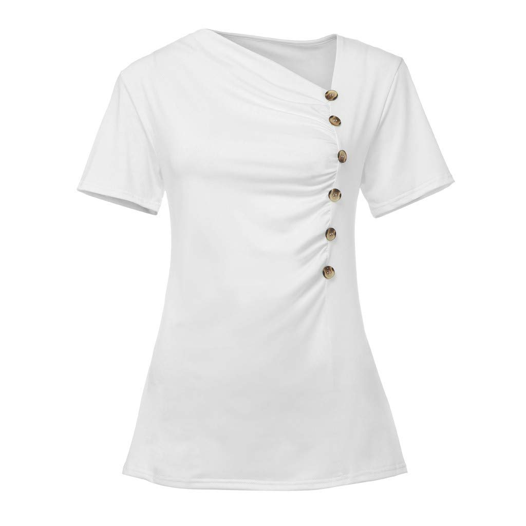 TWGONE Skew Neck Tops for Women Button Short Sleeve Blouse Solid T-Shirt