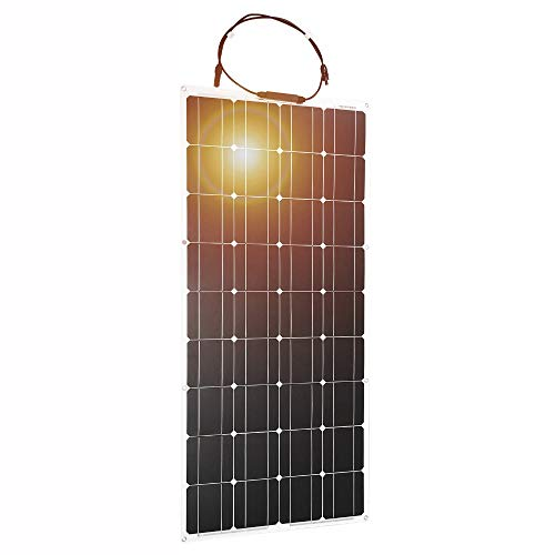 - DOKIO 100W 12V / 18V Portable Monocrystalline Solar Panel, Flexible Thin Lightweight Solar Panel with MC4 for Home, RV, Boat, Tent, Car, Off-Grid or Any Other Irregular Surface