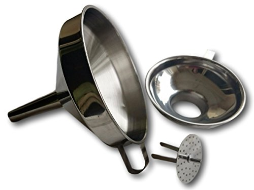 Kitchen Funnel with Strainer (Removable Filter) and Handle - Bonus Small Wide Mouth Funnel for Canning- Stainless Steel, Stackable Set (3 pcs) (Sediment Tubes With Lids compare prices)
