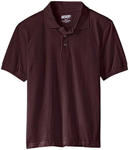 Genuine Big Boys' Short Sleeve Pique Polo, Burgundy, 10/12 - Genuine Boys Shorts