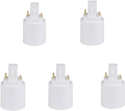 2 GU24 to E26 E27 LED Bulb Base Adapter Converters White Light Sockets Lamp Holder