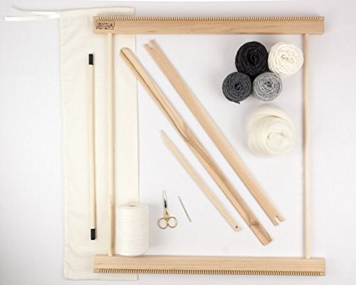 Beka 20'' Frame Loom Weaving KIT/Everything You Need to Make Your OWN Woven Wall Hanging - Gray