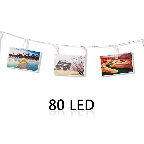 Veesee 80 LED Photo Clip String Lights,Picture Display String Lights with Clip,Battery Powered,Happy Birthday Light for Wedding Anniversary Party Bedroom Dorm Patio Halloween Decorations(Warm (Anniversary Parties Ideas)