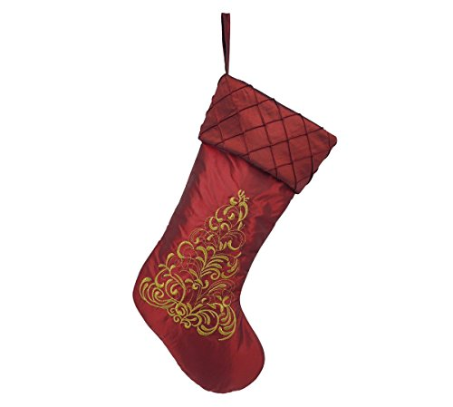 Alice Doria 21 inch Burgundy Christmas Stocking with Gold Embroidered Christmas Tree and Pintuck Cuff (Stocking Silk Christmas)