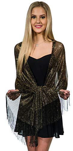 Shawls and Wraps for Evening Dresses, Wedding Shawl Wrap Fringes Scarf for Women Black Gold Petal Rose