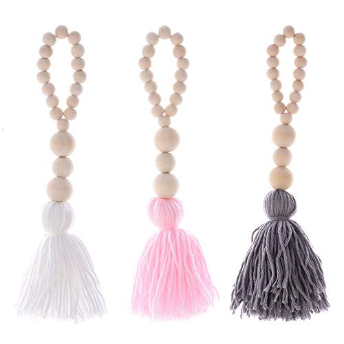 Wall Decor, 3PCS Natural Wooden Beads Garland Fringe Wall Hanging Decorations Antique Country Prayer Beaded Wall Hanging Decoration Suitable for Living Room Bedroom Children Room Decoration