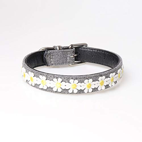 (HolaStar Yellow Daisy Floral Design with Textile Leather Combine Dog and Cat Collar, Cute Soft Padded Pet Collar for Small Cats Puppy and Dogs)