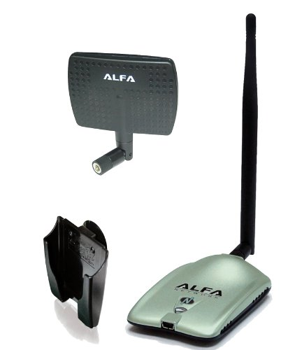 Alfa AWUS036NH 2000mW 2W 802.11g/n High Gain USB Wireless G / N Long-Range WiFi Network Adapter with 5dBi Screw-On Swivel Rubber Antenna and 7dBi Panel Antenna and Suction cup / Clip Window Mount by Alfa