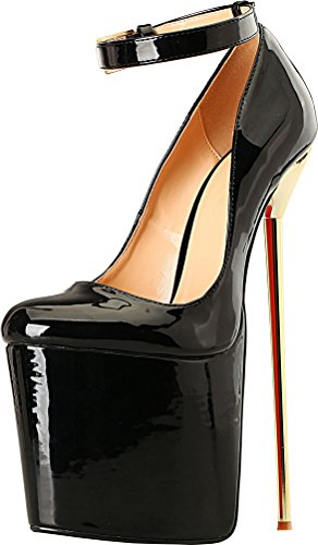 Abby A28 Womens Sexy Supper High Heeled 8.7IN Nightclub Party Prom Cross Dressing Plus Side US9-19 Stiletto Peep Toe Slip On Pumps Black i4efP