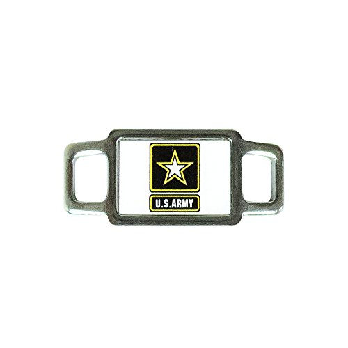 - Paracord Planet USA Military Rectangle Charms - Assorted Styles and Branches of the Military Available - Perfect for Paracord Bracelet, Lanyard, Keychain (US Army White)