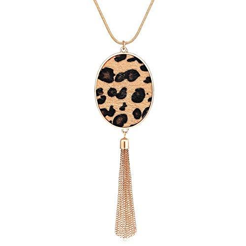 PHALIN Long Necklace for Women Leopard Quatrefoil Pendant Necklace Bohemia Fringe Tassel Necklaces Y Chain Necklace Fashion Jewelry (B Leopard Oval)