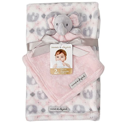 - Blankets & Beyond Blanket Set with Pink & Grey Elephant Security Blanket