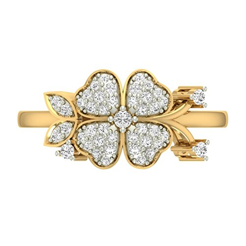 Or jaune 18 K 0,33 CT TW Round-cut-diamond (IJ | SI) en diamant