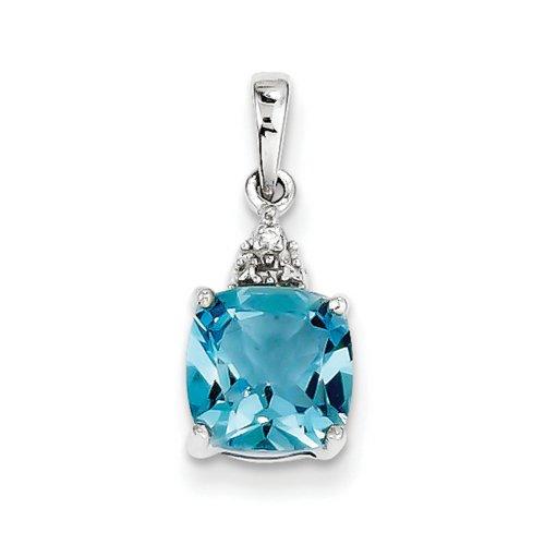 Icecarats Créatrice De Bijoux En Argent Sterling Rhodium Lt Topaze Bleue Suisse Pendentif Diamant