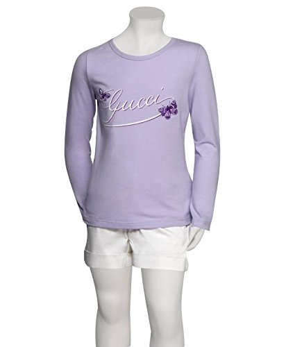 Gucci Kids Lilac Butterfly Embroidery Long Sleeve Top T-Shirt 258571 (6) by Gucci