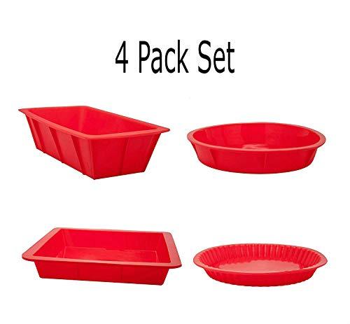 4 Pack Silicone Baking Pan Set 8 x 8 Baking Pan Cake Pan Rectangle Cake Pan Round Pie Pan 8 Inch Round Cake Pan by Xena