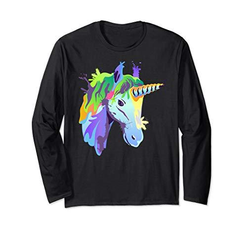 Cute Unicorn Splash Art Colorful Magical Horse Gift Ideas Long Sleeve T-Shirt
