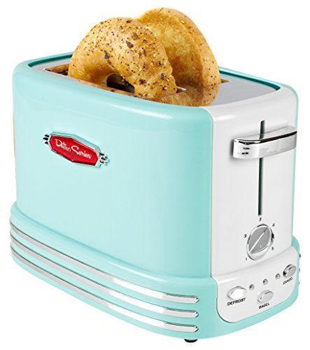 Nostalgia RTOS200AQ New and Improved Retro Wide 2-Slice Toaster Perfect For Bread, English Muffins, Bagels, 5 Browning Levels, With Crumb Tray & Cord Storage - Aqua
